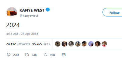 """Kanye West tweeted """"2024"""" and Twitter thinks it's a political hint"""