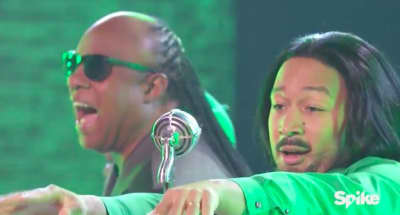 "Watch John Legend And Stevie Wonder Lip Sync Outkast's ""Hey Ya!"""
