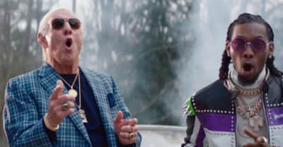 "Watch Ric Flair in the ""Ric Flair Drip"" video with Offset and Metro Boomin"