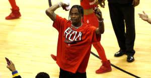 Travis Scott honors Santa Fe High School seniors at Houston Rockets game