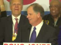 "Watch Doug Jones walk off stage to ""Teach Me How To Dougie"" after win in Alabama"