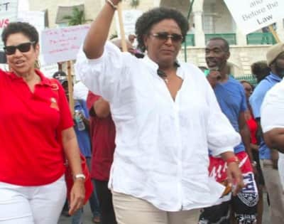 Rihanna gives her support to Mia Amor Mottley, the first female prime minister of Barbados