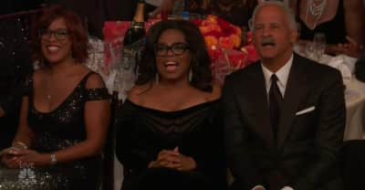 Whoever seated Oprah directly in front of the stage at the Golden Globes is a genius