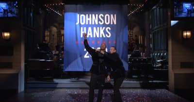 "Watch Dwayne ""The Rock"" Johnson, Tom Hanks Announce 2020 Presidential Bid In SNL Monologue"
