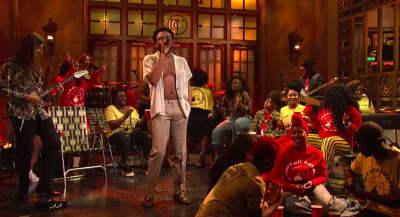 "Childish Gambino performed his new song ""Saturday"" on Saturday Night Live"