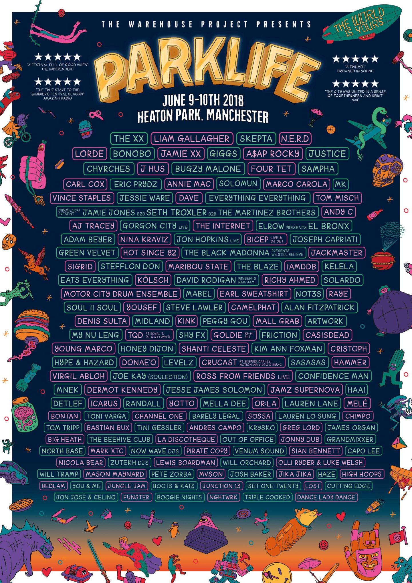 Skepta, The XX, N.E.R.D. will headline the 2018 Parklife Festival