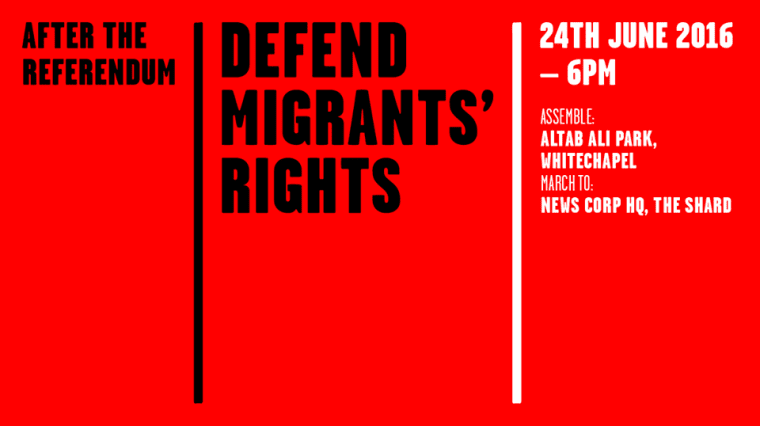 Londoners Will Protest In Defence Of Migrants' Rights Tonight