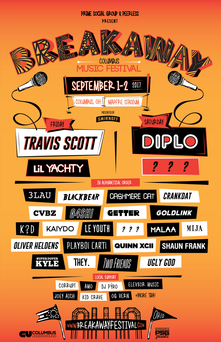 Travis Scott, Diplo, And Lil Yachty Confirmed For Breakaway Festival 2017