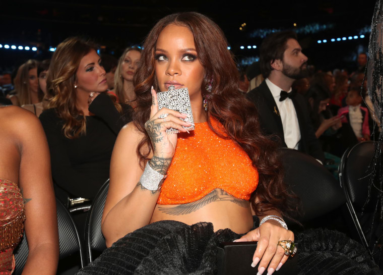 Rihanna Had A Sparkly Flask At The Grammys And It Could Not Have Been More Iconic