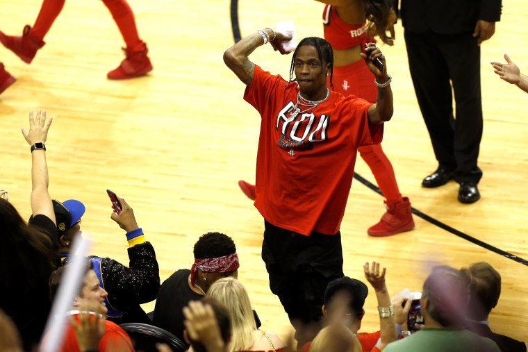 Travis Scott honors Santa Fe High School seniors at Houston Rockets game