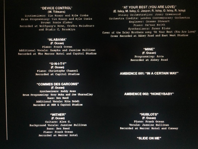 Here Are The Full Credits For Frank Ocean's <i>Endless</i> Visual Album
