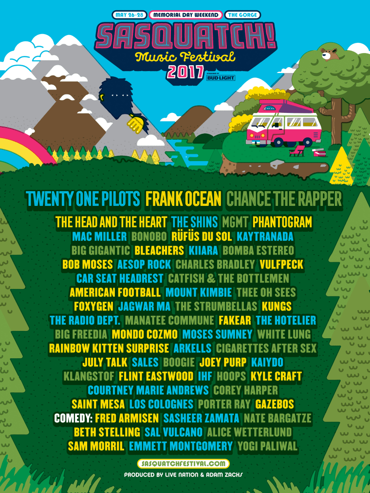Sasquatch 2017 Announces Lineup, With Chance The Rapper And Frank Ocean Headlining
