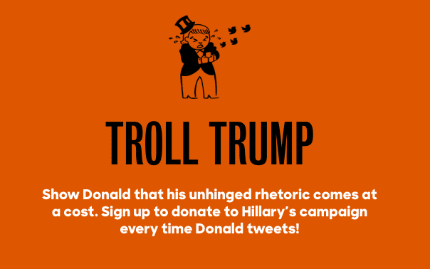 You Can Sign Up To Donate To Hillary Clinton's Campaign Every Time Donald Trump Tweets