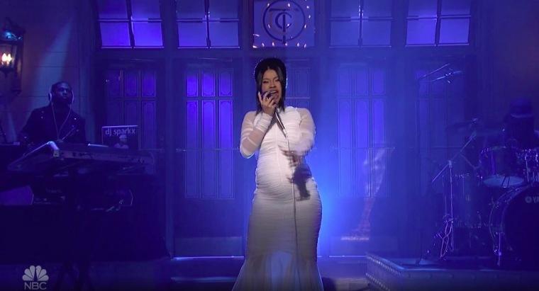 Cardi B unveils pregnancy during <i>Saturday Night Live</i> performance
