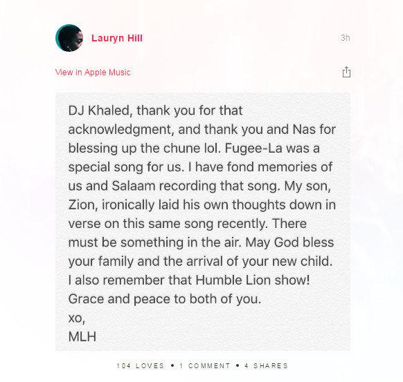 Lauryn Hill Thanks DJ Khaled For Fugees Shout Out On <i>Major Key</i>