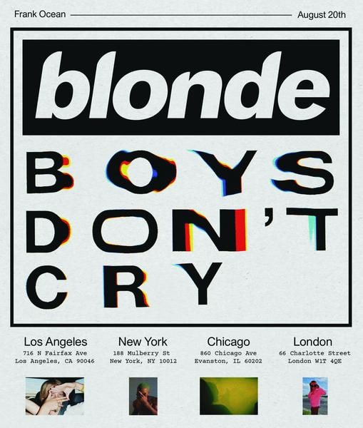Frank Ocean Announces <i>Boys Don't Cry</i> Magazine Pop Ups