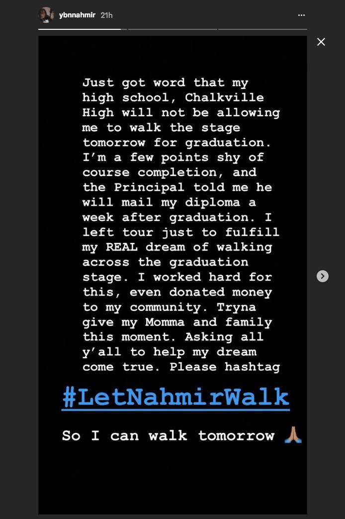 YBN Nahmir just went platinum but he still wasn't allowed to walk at graduation