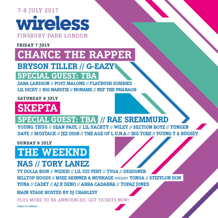 Skepta, The Weeknd, And Chance The Rapper To Headline Wireless Festival