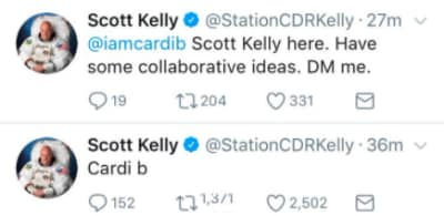 Astronaut Scott Kelly wants to link up and build with Cardi B