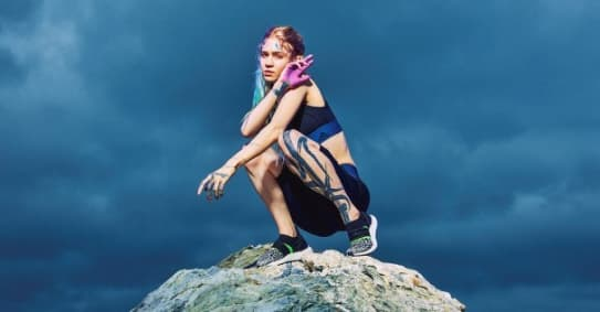 Grimes's workout routine involves sword fights, screaming, and experimental eye surgery