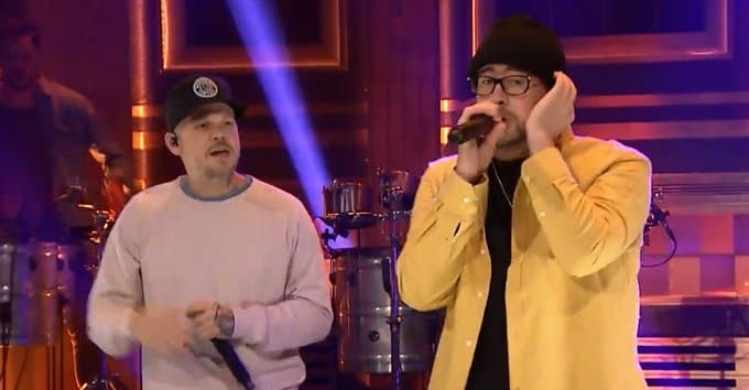 """Watch Residente and Bad Bunny bring """"Bellacoso"""" to Fallon"""