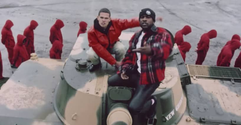 "Slowthai and Skepta face the inquisition in the ""Inglorious"" video"