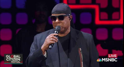 Stevie Wonder Took A Knee On Stage At Global Citizen Festival