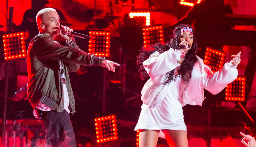 Eminem rapped his support of Chris Brown's assault of Rihanna