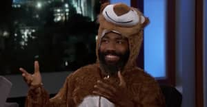 Donald Glover showed up to Kimmel in a lion costume and talked about Atlanta and Beyoncé