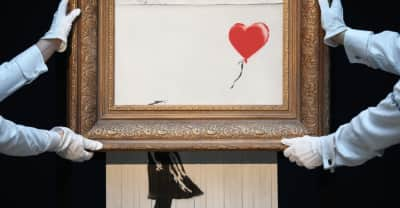 "Watch Banksy detail the shredding of his ""Girl with Balloon"" painting at Sothebys"
