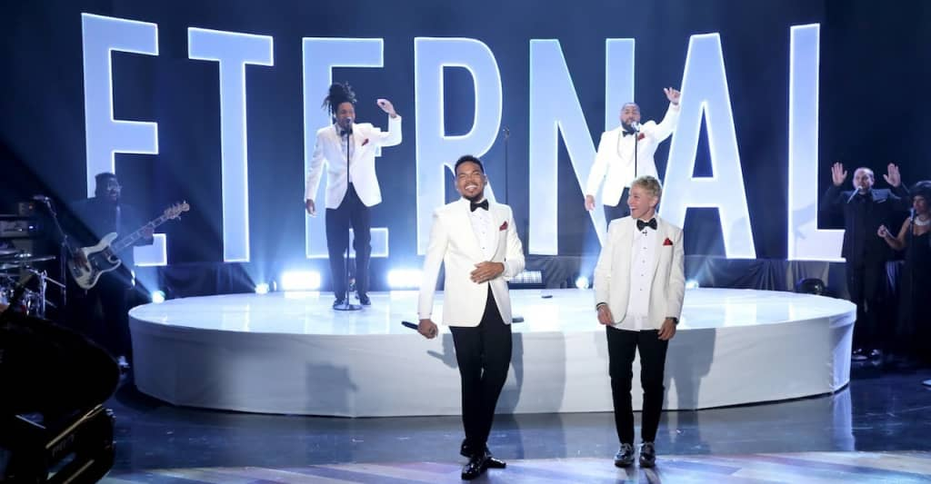 "Watch Chance The Rapper and Smino suit up for ""Eternal"" performance on Ellen"