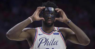 Watch Joel Embiid take on the half-court shootout at Drake's Philadelphia show