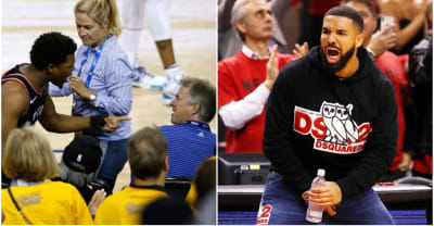 A Warriors co-owner shoved Kyle Lowry. Drake should wear a sweater with his face to the next game.