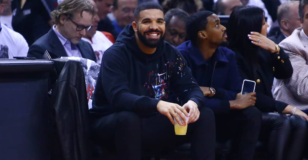 6e7d1aae Drake ingeniously broke the Drake curse by wearing 76ers gear during Game 7
