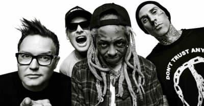 "Listen to the cracker-friendly full version of blink-182 and Lil Wayne's ""What's My Age Again? / A Milli"""