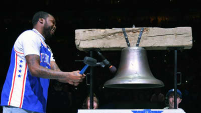 Meek Mill is a free man, rings ceremonial bell at Sixers game