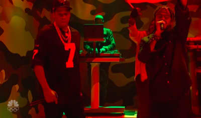 JAY-Z performs in a Colin Kaepernick jersey on Saturday Night Live