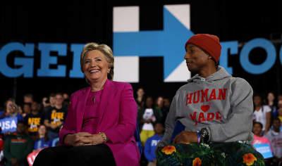 Hillary Clinton Brings Out Pharrell At North Carolina Rally