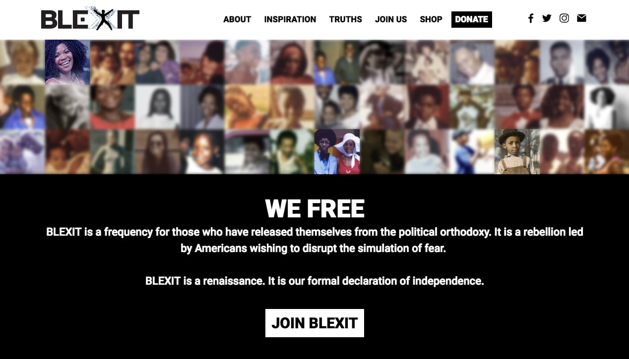 BLEXIT's website is made up of stolen photos and stock images