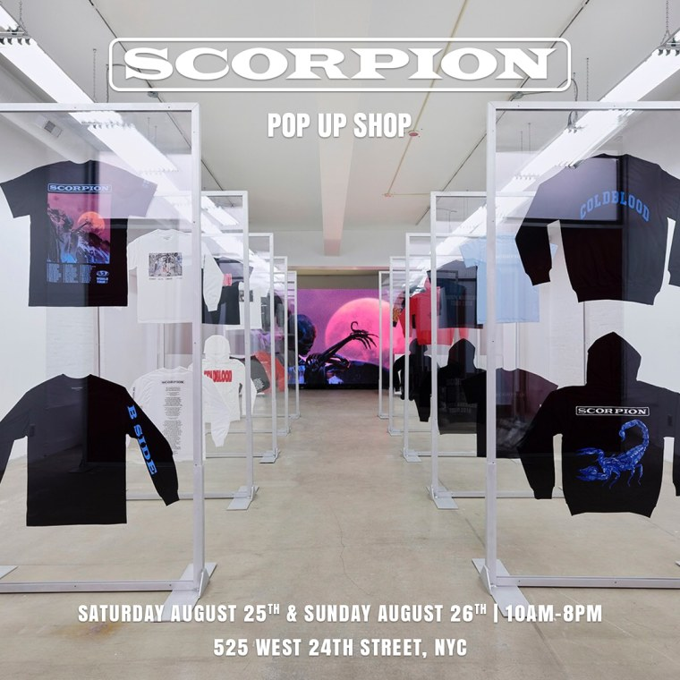 There will be a <i>Scorpion</i> pop up shop this weekend in New York