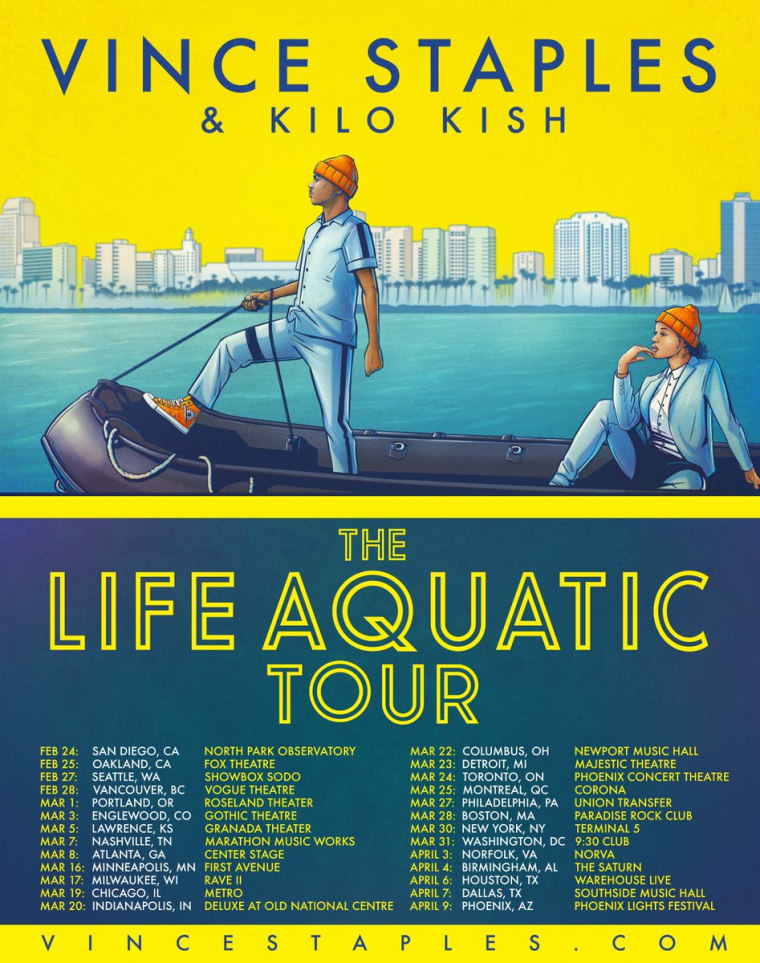 Vince Staples Announces The Life Aquatic Tour With Kilo Kish