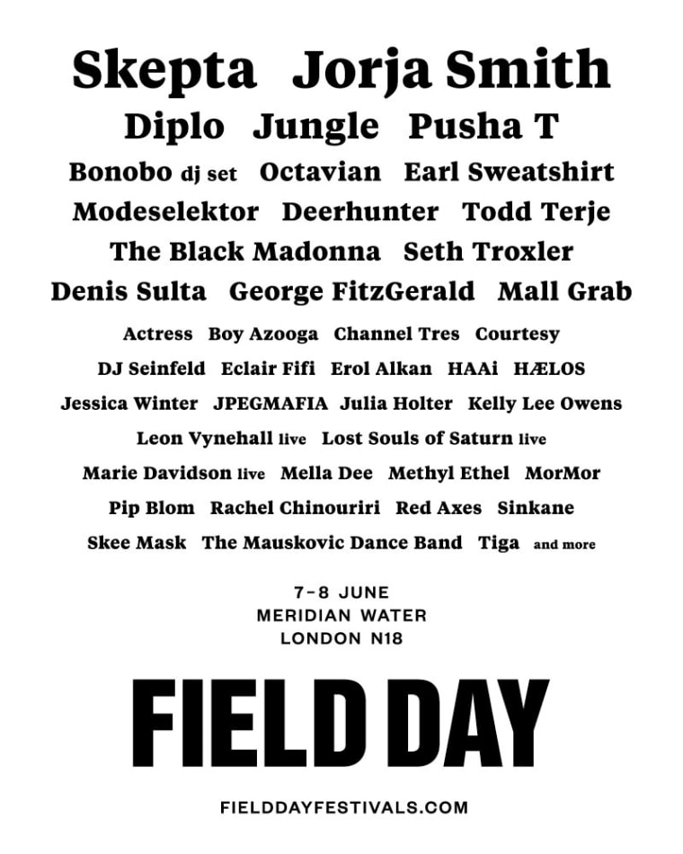 Skepta and Jorja Smith to headline Field Day