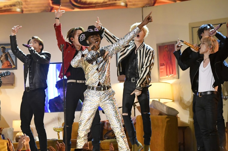 Watch Lil Nas X team with BTS, Diplo, Nas, Mason Ramsey, and more for Grammys performance