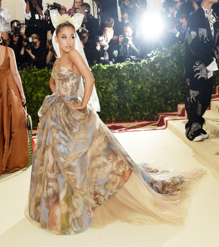 Ariana Grande wears the Sistine Chapel wall at the Met Gala