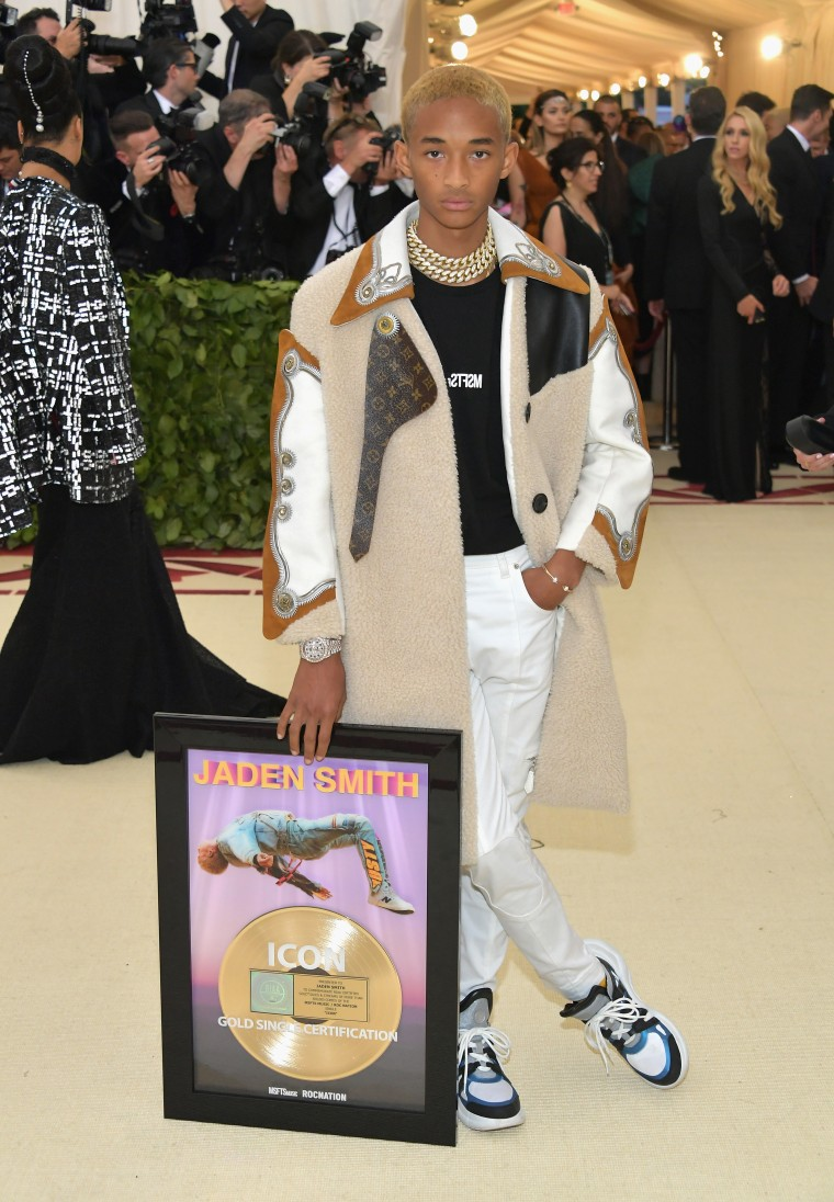 Jaden Smith carried his gold plaque on to the Met Gala red carpet
