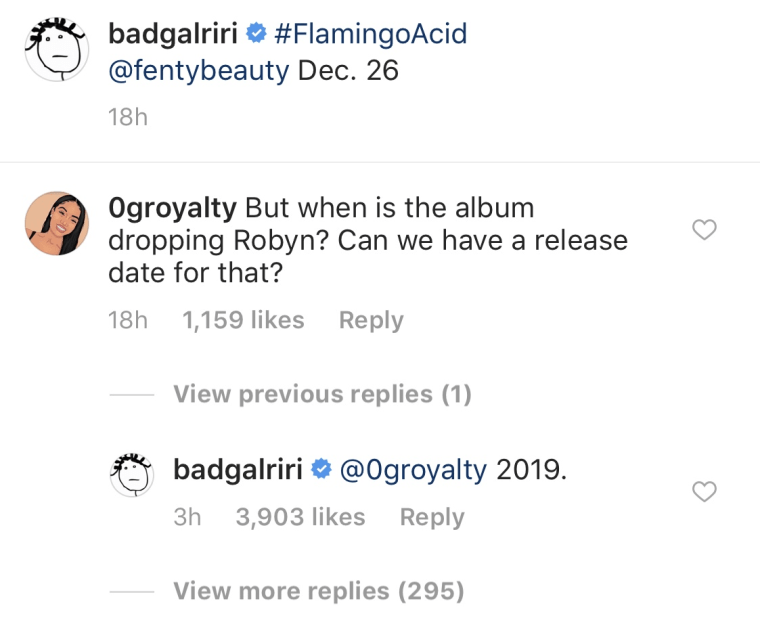 Rihanna says her new album is coming in 2019