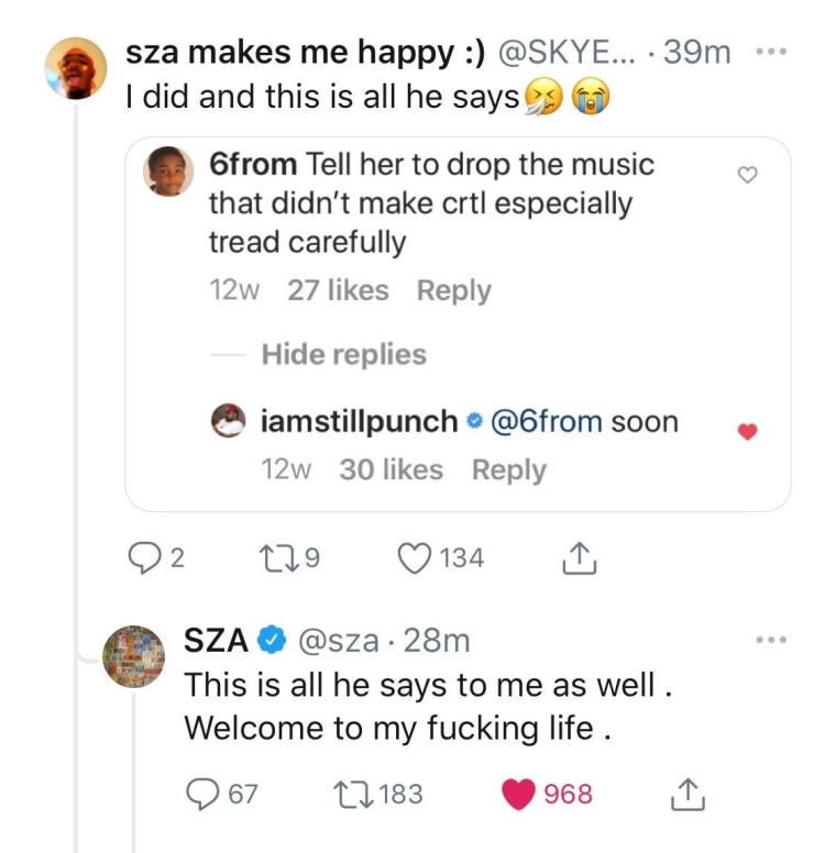 SZA says unreleased music is being held up by TDE's Punch