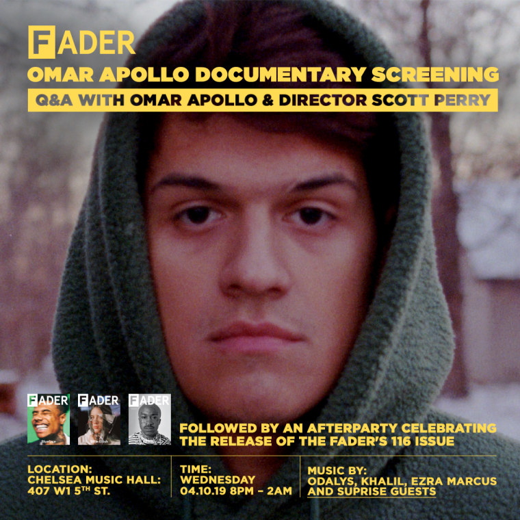 RSVP for The FADER Issue 116 launch party and Omar Apollo documentary screening