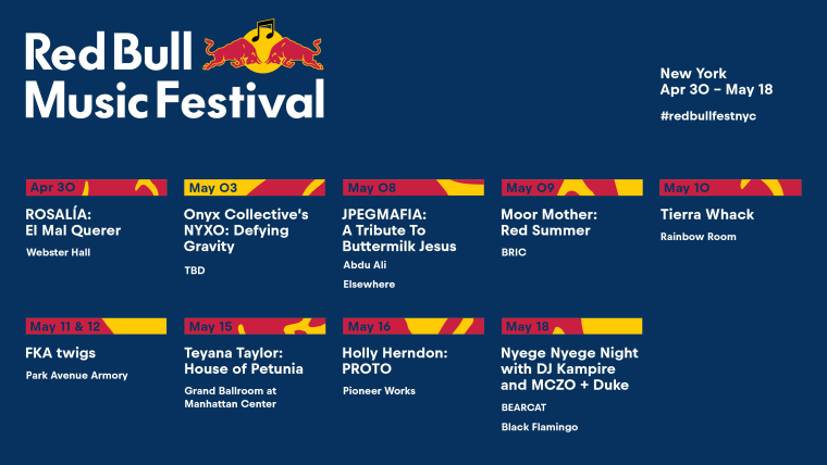 FKA twigs, Tierra Whack, Rosalía, and more announced for Red Bull Music Festival New York 2019