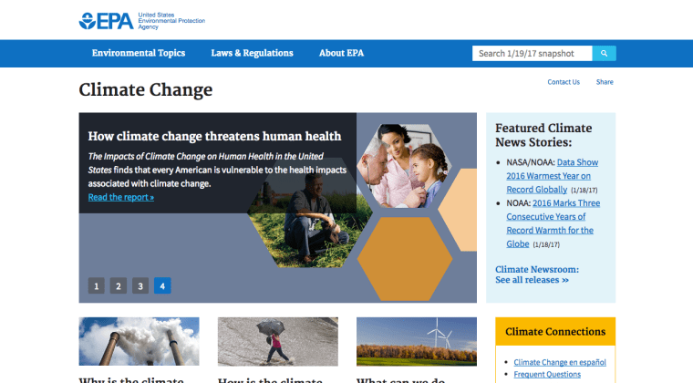 The EPA Has Scrubbed The Climate Change Section On Their Website